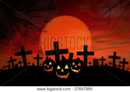 Halloween Jack O Lantern In Spooky Graveyard