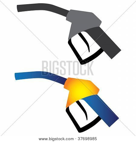 Illustration Of Petrol Nozzle Used For Gas Filling In Black & White And In Yellow, Orange And Blue C