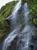 stock photo of profusion  - Crystal Clear Cool Double Waterfall As In Profuse Cold Cash - JPG
