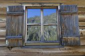 Window of a typical mountain hut in Northern Italy, Europe