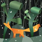 stock photo of dimentional  - Paper fox in a paper forest - JPG