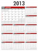 2013 Calendar Template - Starts on Sunday