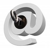 stock photo of intranet  - email symbol with key on white background - JPG