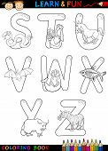 pic of x-ray fish  - Cartoon Alphabet Coloring Book or Page Set with Funny Animals for Children Education and Fun - JPG