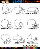 image of octagon shape  - Cartoon Coloring Book or Page Illustration of Basic Geometric Shapes with Captions and Animals Characters for Children Education - JPG