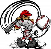 stock photo of hitter  - Baseball Cartoon Player with Bat and Ball Vector Illustration - JPG