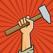 image of communist symbol  - Vector Illustration of a fist holding a hammer in the style of Russian Constructivist propaganda posters - JPG