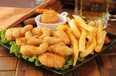 pic of popcorn  - A snack platter with popcorn and coconut shrimp fries and beer - JPG