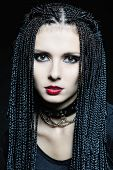 image of cornrow  - Beautiful woman in gothic shape with african pigtails  - JPG