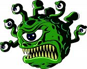 image of vicious  - Isolated vicious green beholder monster with a Cyclops type central eye and a head full of tentacles each bearing a smaller eye  - JPG