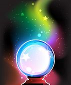 foto of clairvoyant  - Magic sphere for predictions on a mysterious background - JPG