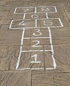pic of hopscotch  - A Traditional HopScotch Game Marked Out on Slabs - JPG