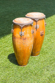 stock photo of congas  - Congas in the grass field - JPG