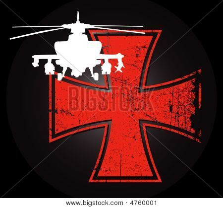 Military Helicopter Against The Backdrop Of A Distressed Iron Cross