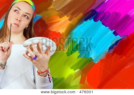 Artist And Her Painting