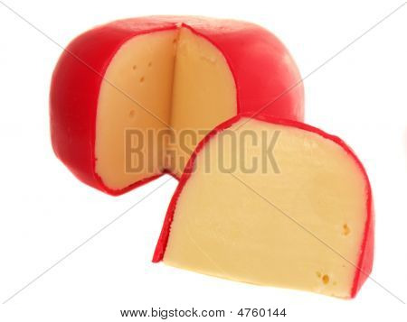 Red Skinned Swiss Cheese Isolated On White