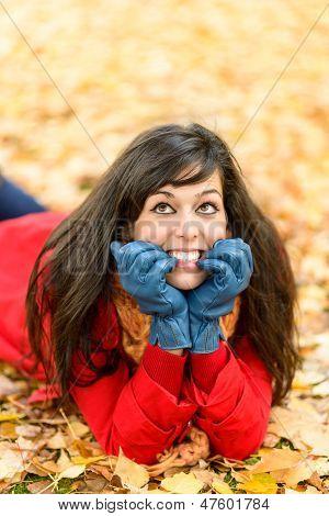 Happy Nervous Girl On Autumn Thinking