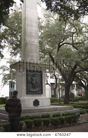 Man Looking At Nathanial Greene Memorial