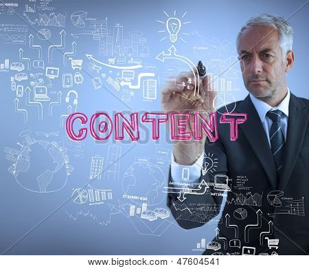Businessman holding a marker and writing the word content against blue background
