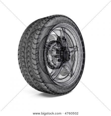 Постер, плакат: Рисование автомобиля колеса, холст на подрамнике