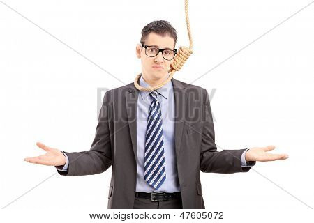 Young businessman in suit with a rope around his neck, gesturing isolated on white background