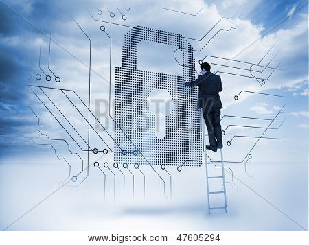 Businessman on a ladder touching a padlock next to circuit board with blue sky on the background