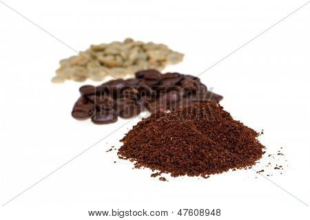 Coffee from raw green beans to roasted beans to ground coffee. Isolated on white background