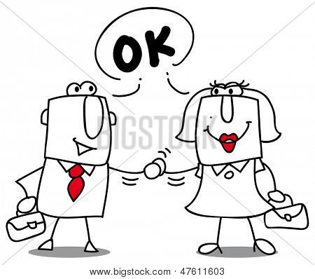 Are you ok ? A businesswoman and a businessman shaking hands.