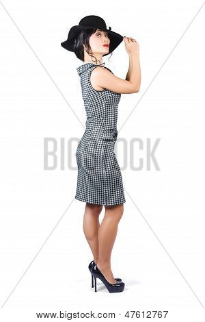 Vintage Summer Clothes Woman. Full Length Portrait