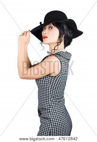 Young Beautiful Asian Brunette In Retro Dress