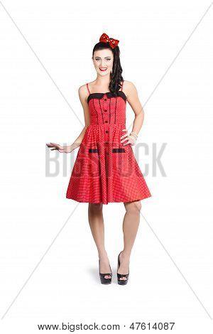Pin-up Girl In Full Portrait With Beautiful Figure