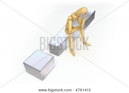 Lay Figure Sitting On Metal Exclamation Mark