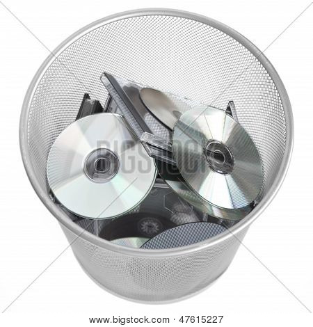 Digital Discs In Dustbin