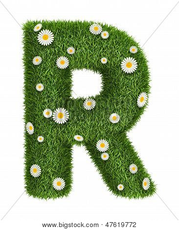 Natural grass letter R