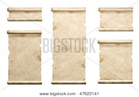Collection of old parchments. Isolated over white