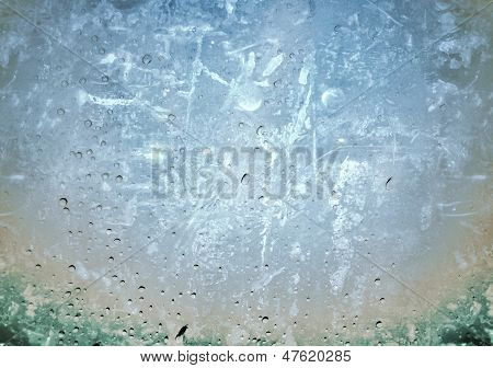 grunge picture of drops on a transparent surface
