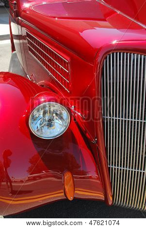 Street rod detail, old red Ford