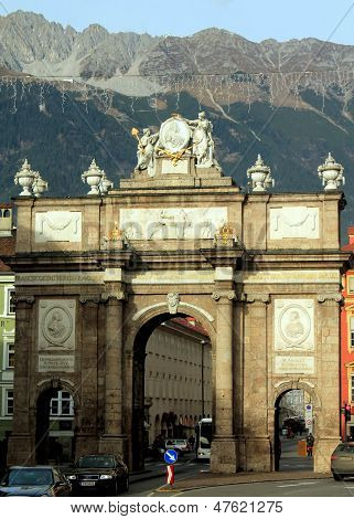 INNSBRUCK, AUSTRIA - NOVEMBER 23, 2012: Triumphal Arch on November 23, 2012 in Innsbruck, Austria
