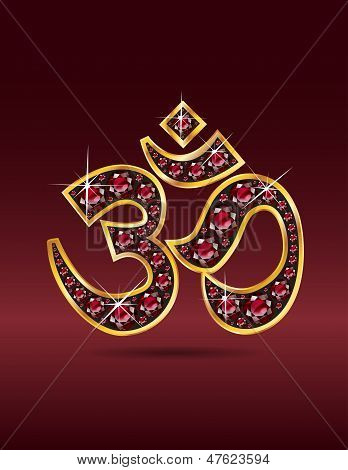 Om Symbol In Gold With Ruby Stones