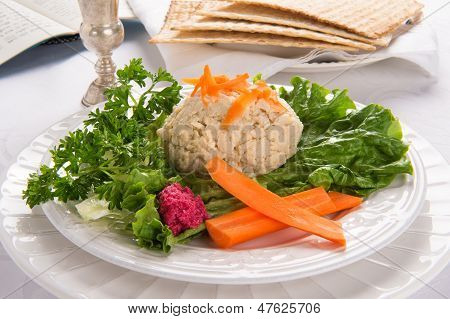 Gefilte Fish With Kidduch Cup, Matzah And Haggadah