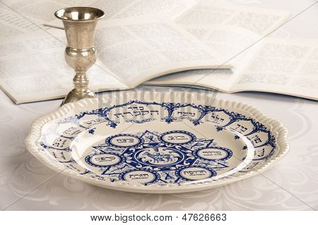 Passover Plate With Kiddush Cup And Haggadah