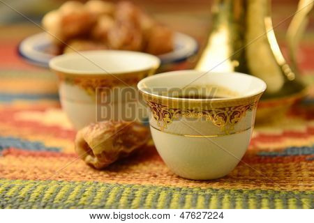 Arabic coffee cups close up