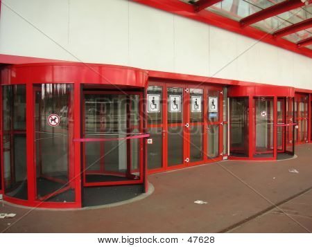 Red Revolving Door