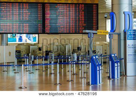Empty Hall In Israeli Airport Ben Gurion On Saturday (shabbat)