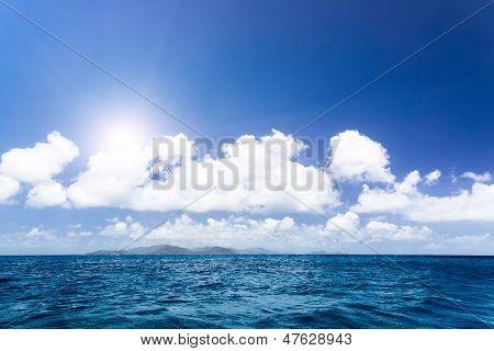 Agitated Blue Sea Near Seychelles Islandes.