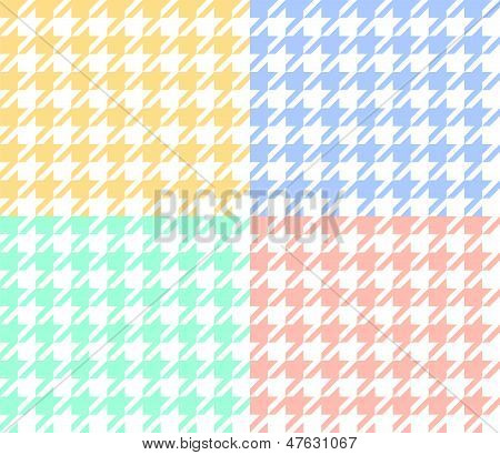 Houndstooth fabric in pastel colors seamless pattern set, vector