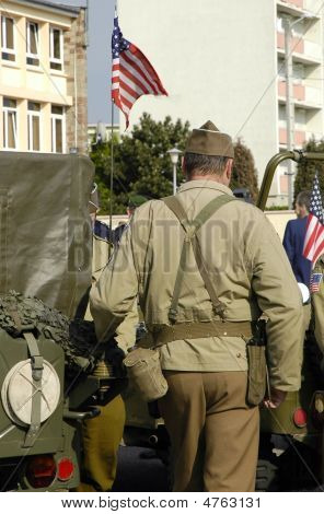 Us Gi During French Commemorative Parade