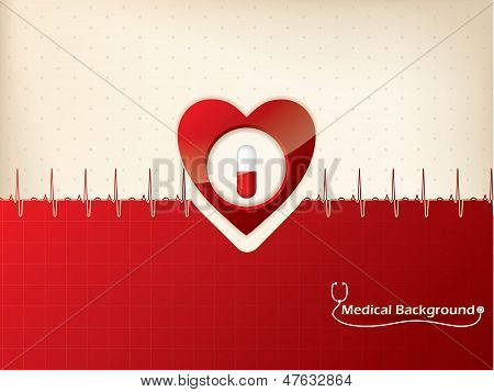 Medical Background Design With Heart And Ekg Symbol