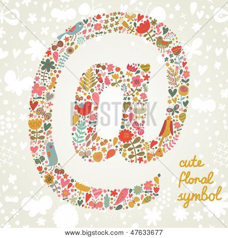 Ampersat symbol in vector. Bright floral element of colorful alphabet made from birds, flowers, petals, hearts and twigs. Summer floral ABC element in vector