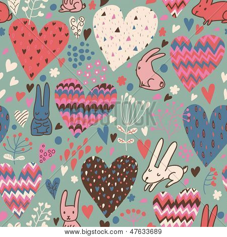Romantic seamless pattern with cute rabbits in love and big hearts. Vector floral endless background. Happy hares in the garden. Valentines day card design.